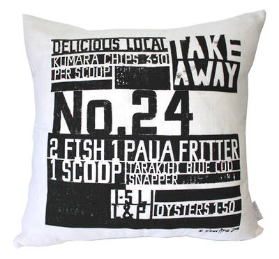 Gorgi In The News Art Cushion by Nikki Apse: White Linen