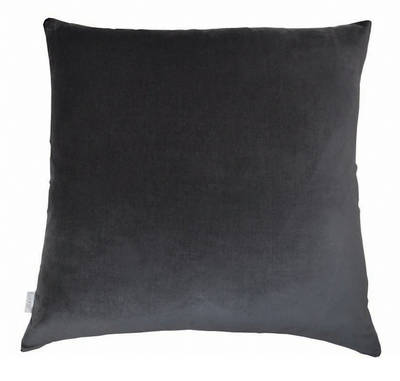 Gorgi Oversized Velvet Cushion in Charcoal with Linen Backing