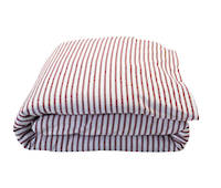 Madder Red Scarlet Ticking Stripe Duvet Cover