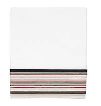 Vintage Retro White Cotton Percale Flat Sheet with Red and Navy French Stripe Cuff and Dark Navy Gros Grain