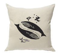 Gorgi Love Us Don't Hunt Us Whale in Black Ink on Natural Linen