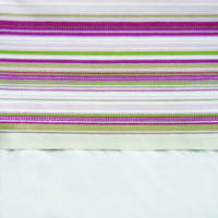Pink and Lime French Stripe Cuff with Beige Gros Grain Cot Flat Sheet