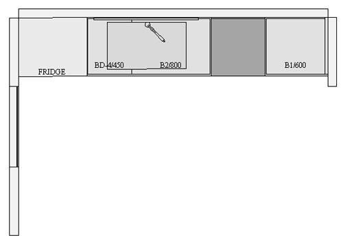 Straight Kitchen Plan layout