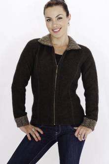 Ladies' Cable Collar Zip Jacket