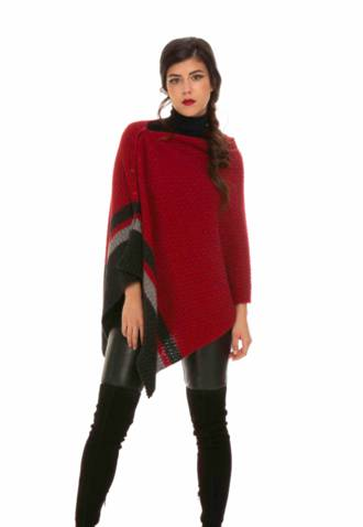 KO526 Colour Block Poncho