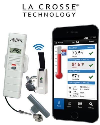 926-251031 La Crosse WIFI Temp Humidity Alert System with Threaded Wet Temp Probe Tee Adapter Kit
