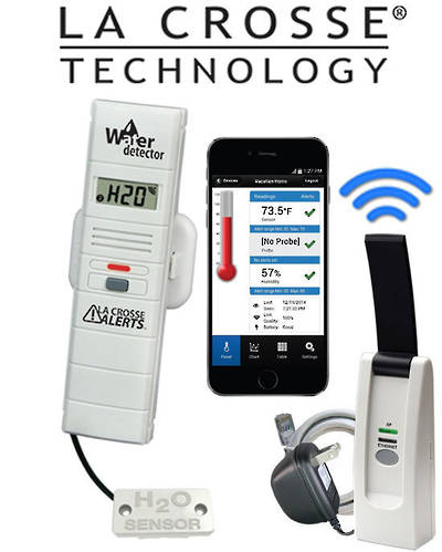 926-25104 La Crosse WIFI Temp Humidity Alert System with Remote Water Leak Detector