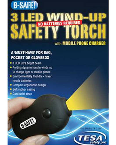 BSAFE-TORCH Personal pocket and handbag Safety Dynamo LED Torch with Mobile Phone Charger