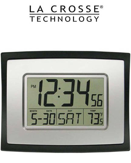 WT-8002U La Crosse 23x18cm Wall Clock with Indoor Temp and Calendar