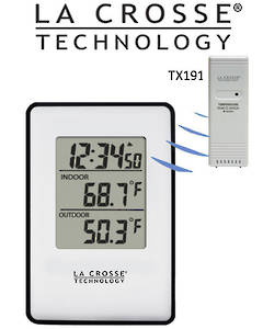308-1910B La Crosse Black surround Panel Wireless Indoor Outdoor Thermometer