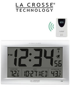 513-1311OTN La Crosse large 40cm x 28cm Digital Wall Clock with Outdoor Temperature