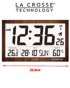 WS8007 La Crosse Large Wall Clock with Indoor Temperature Humidity