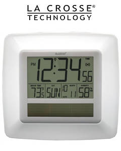 WT-8112U-WH Solar Digital Wall Clock with Indoor Tempe and Humidity