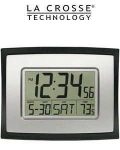 WT-8002U La Crosse 23x18cm Wall Clock with Indoor Temp and Calendar