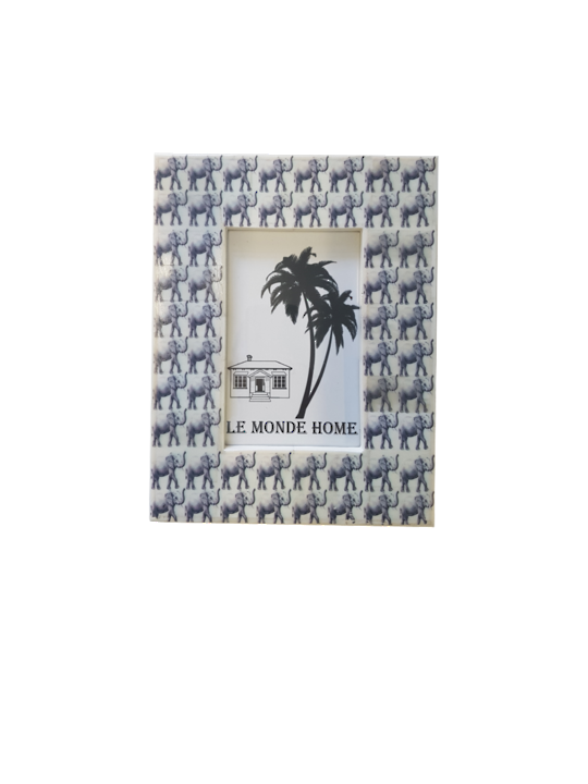 *WHITE RESIN FRAME WITH ELEPHANT PRINT - MIN 2