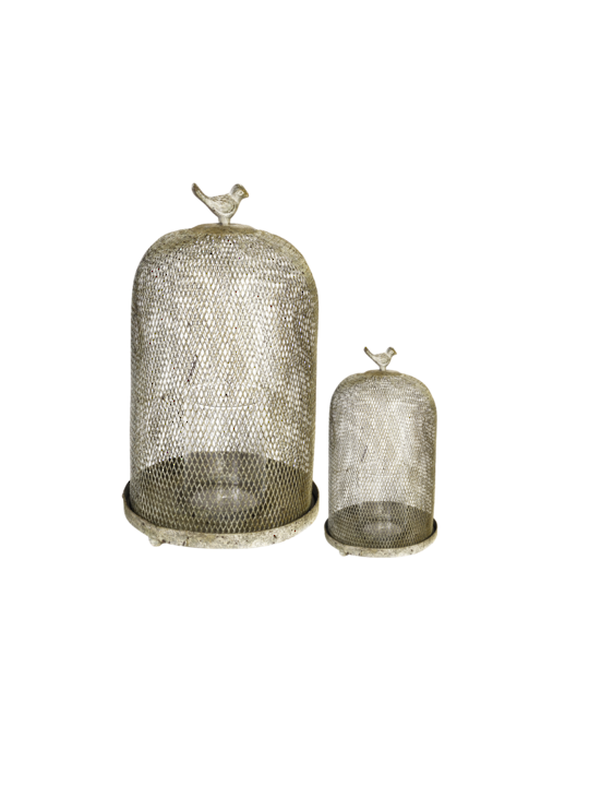 SET/2 OPHIRA GOLDEN SPARROW MESH CANDLE HOLDERS