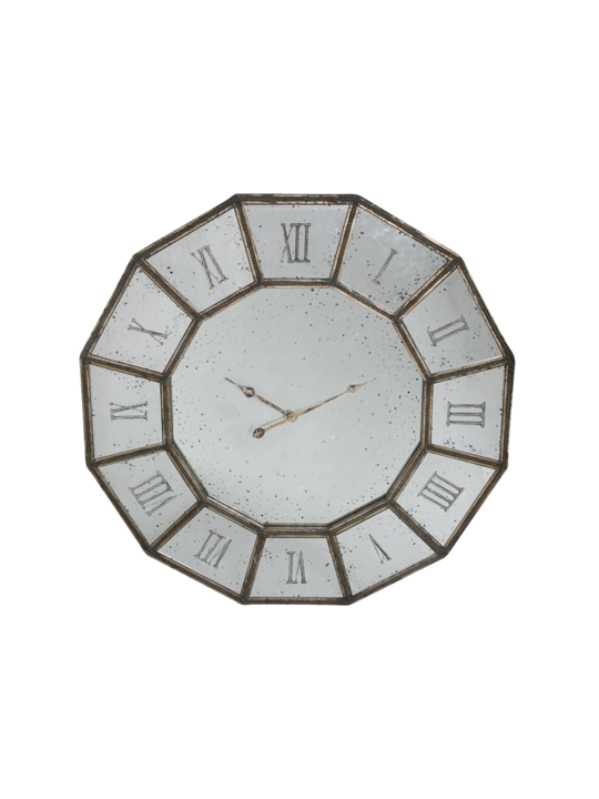 MIRRORED CLOCK ROMAN NUMERIALS