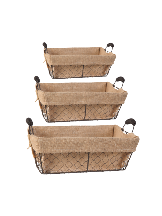 SET/3 JOYCE BASKETS WITH CANVAS CLOTH RECTANGLE