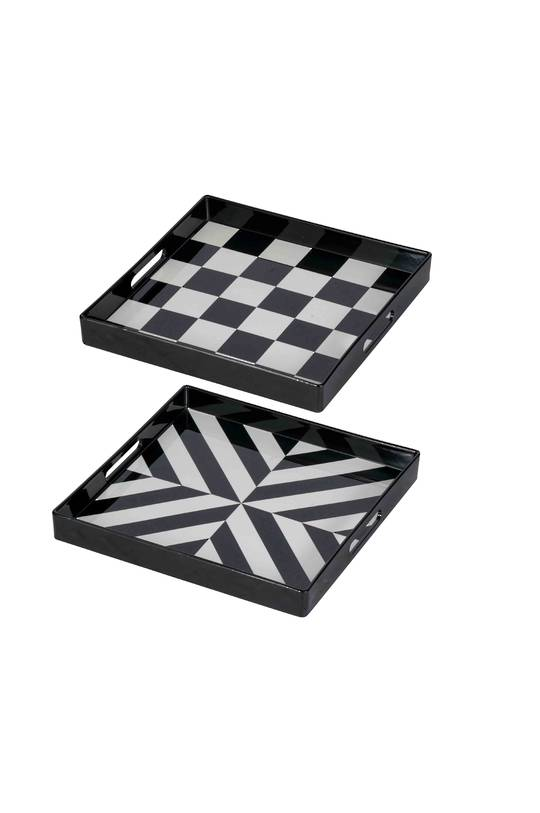 SET/2 SQUARE DECORATIVE LUXE TRAYS