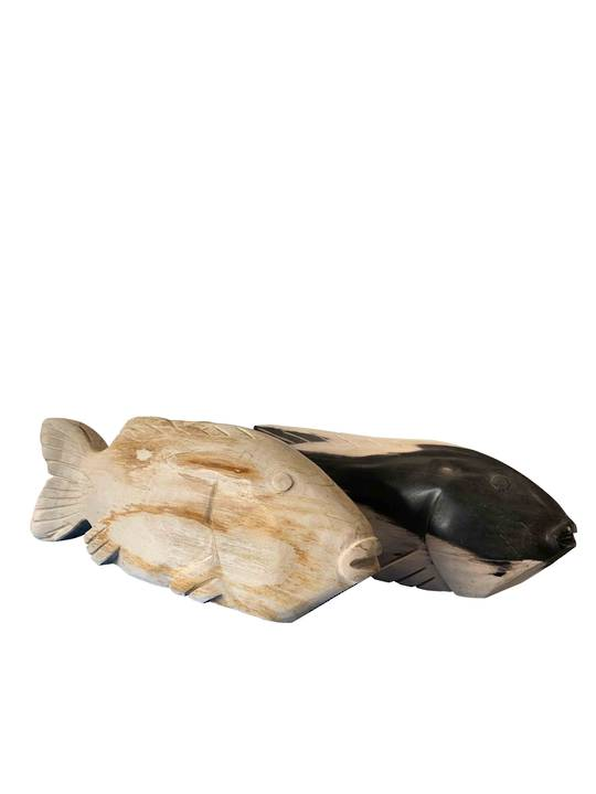 RUSTIC HAND CARVED FISH LARGE