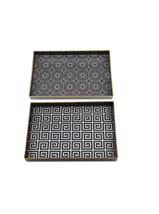 SET/2 RECTANGULAR DECORATIVE LUXE TRAYS