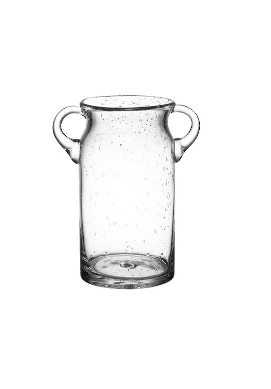 GLASS BUBBLE VASE WITH 2 HANDLES