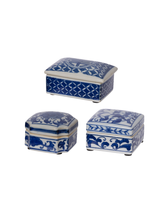SET 3 BLUE & WHITE DECORATIVE BOXES