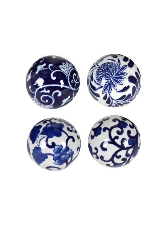 SET 4 BLUE & WHITE DECORATIVE BALLS