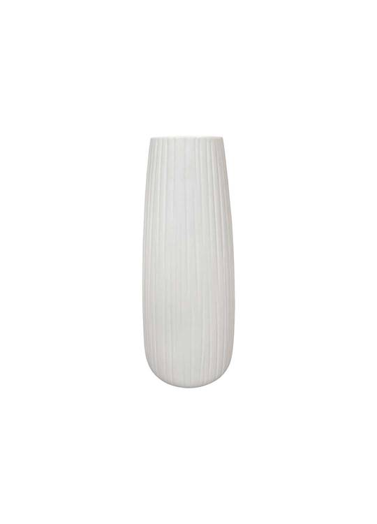 WHITE VASE WITH VERTICAL LINE DETAIL