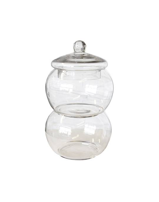 DOUBLE CONDIMENT GLASS HOLDER WITH LID