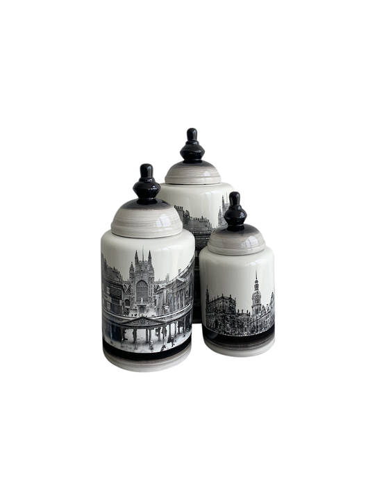 HISTORIC BUILDINGS ON VASE WITH LID SET/3