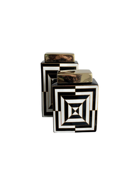 SET 2 LUXE DECORATIVE VASES GEO SQUARE DESIGN