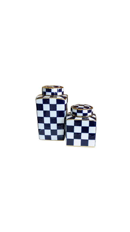 SET/2 CHECKED DESIGN VASES WITH LID