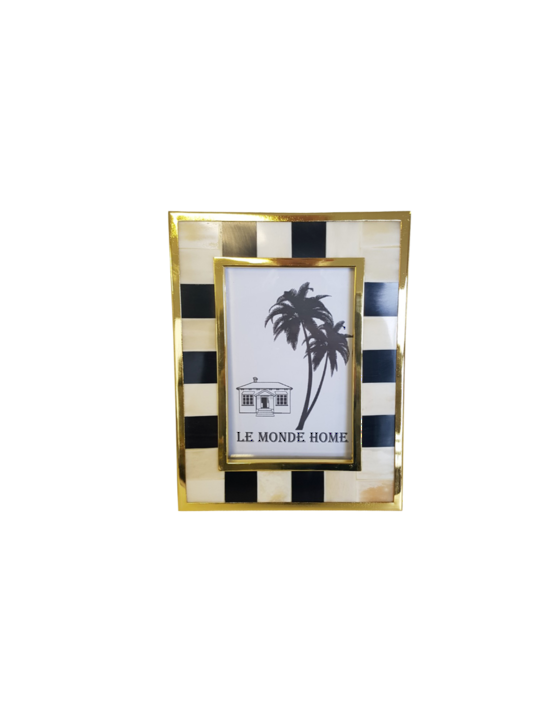 LUXE STRIPED PHOTO FRAME MED