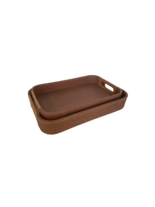 SET 2 TRAYS TAN CROCODILE FAUX  RECT