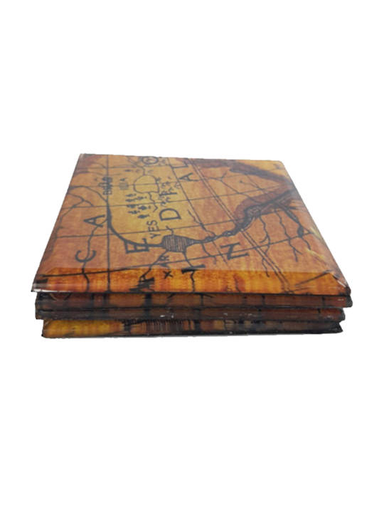 GLASS COASTERS WITH VINTAGE MAPS SET OF 4