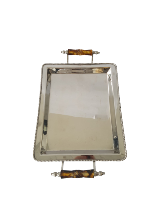 BRASS AND STAINLESS TRAY WITH TORTOISESHELL  RESIN HANDLES