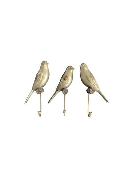 BIRD W/ METAL HOOK ANTIQUE FINISH SET OF 3