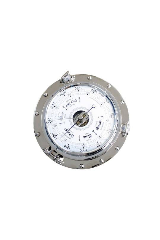 ALUM 220MM BAROMETER ON PORTHOLE BASE NKL