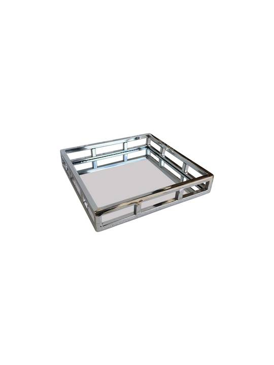 SQUARE STEEL MIRROR TRAY NICKLE FINISH