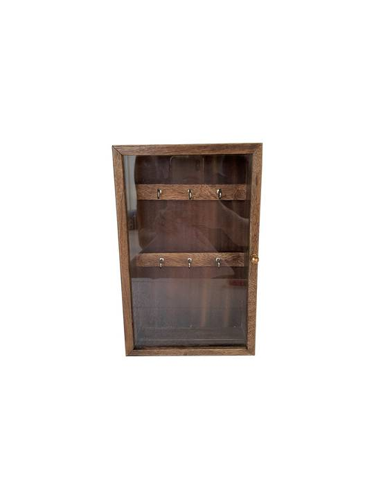 WOODEN/GLASS KEY BOX BURNT MANGO