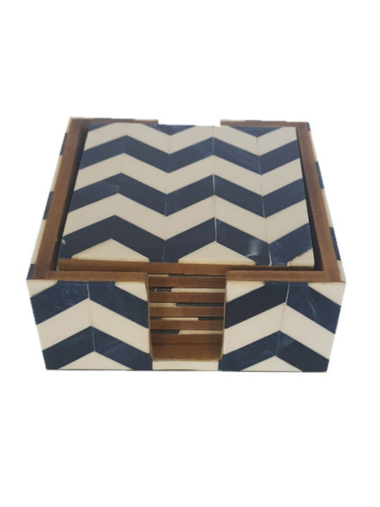 RESIN/MDF COASTER BLUE ZIGZAG SET/6