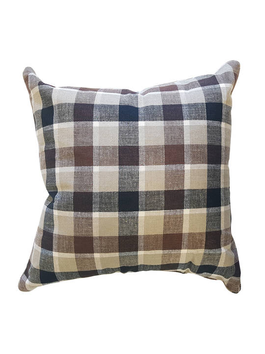 CUSHION COVER PLAID BROWNS DOUBLE SIDED WITH SELF PIPING