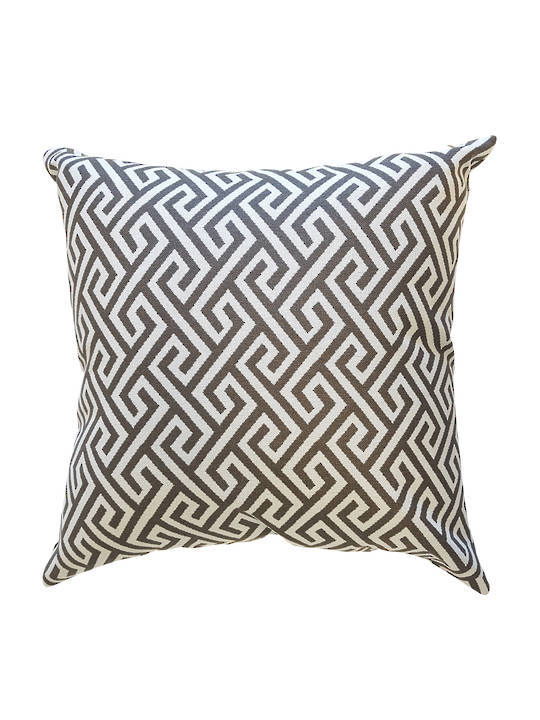 CUSHION COVER GREEK KEY LOOSE WEAVE  DOUBLE SIDED