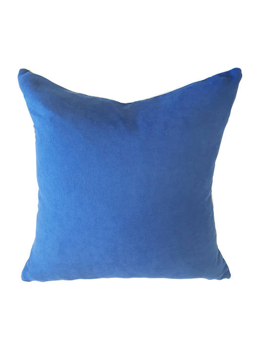 CUSHION COVER PLAIN NAVY BLUE DOUBLE SIDED WITH A CONTRAST WHITE PIPING