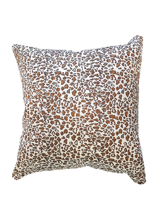 CUSHION COVER LEOPARD PRINT DOUBLE SIDED WITH SELF-PIPING