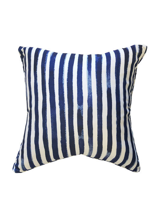 CUSHION COVER PRINTED NAVY BLUE & WHITE  STRIPED DOUBLE SIDED WITH SELF PIPING