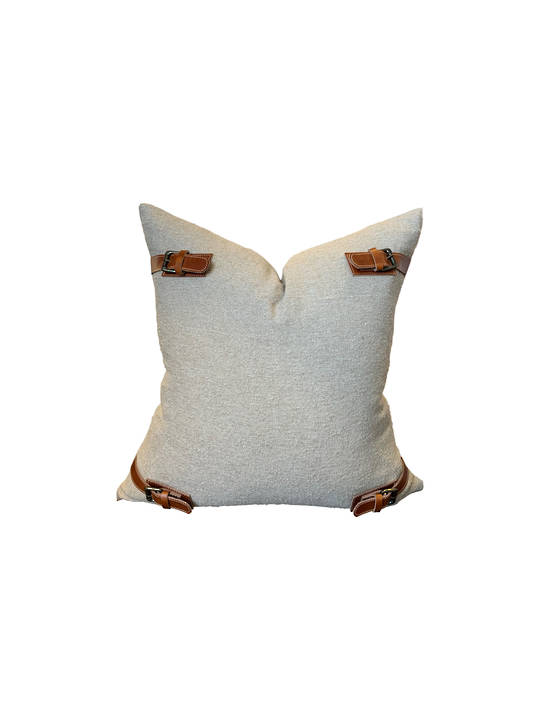 NATURAL COTTON CUSHION COVER WITH LEATHER BUCKLE DETAIL