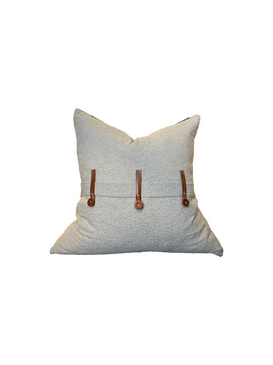 NATURAL COTTON CUSHION COVER WITH LEATHER BUTTON DETAIL