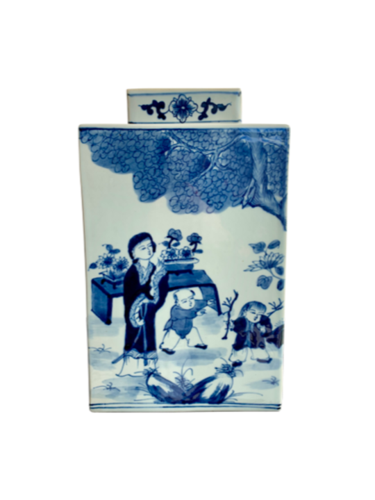 SQUARE VASE WITH LID 2 CHINESE WOMAN